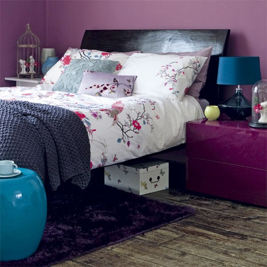 Oriental-style bedroom with purple accents | Oriental design room ... - Purple And Turquoise Bedroom Ideas