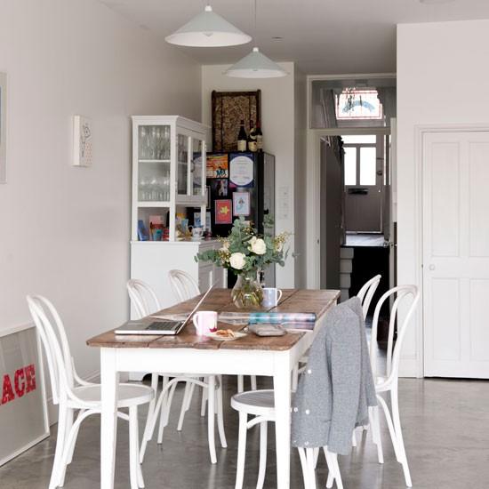 Dining Room Flooring: Sleek White Dining Room