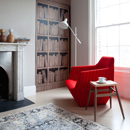 Living Room With Bookcase Wallpaper