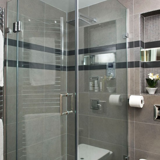 Bathroom with black and gray tiles redecorating ... - Grey Tile Bathroom Ideas