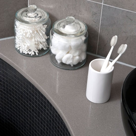 bathroom accessories | see this sleek grey bathroom