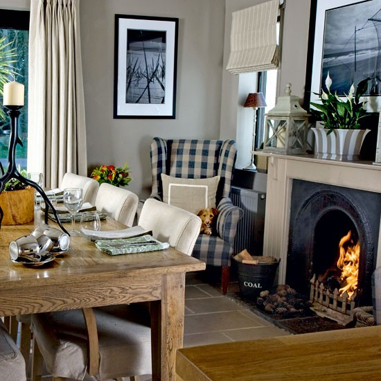 Cottage Dining Room: Dining Room With Roaring Fire