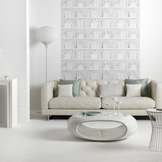 White Living Room Ideas: Contemporary White Living Room