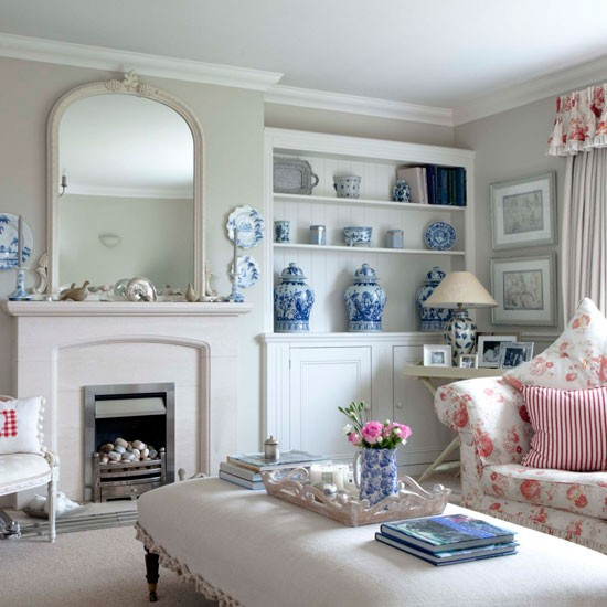 White Living Room Ideas: White Living Room With Floral Accents