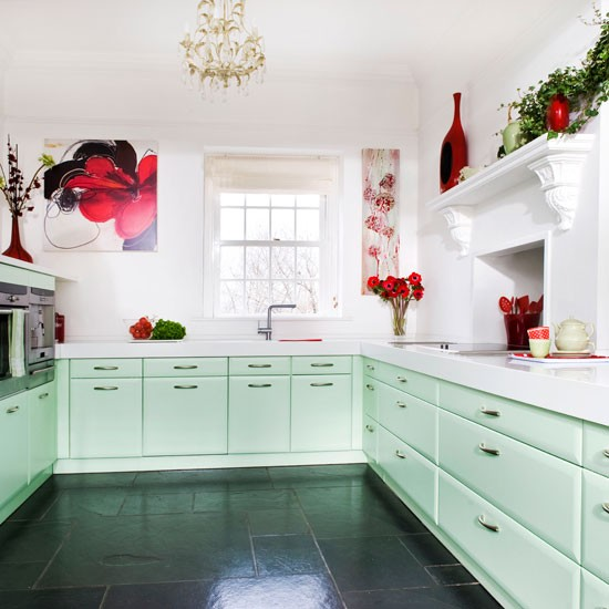 Step Inside This Minty Fresh Country Kitchen