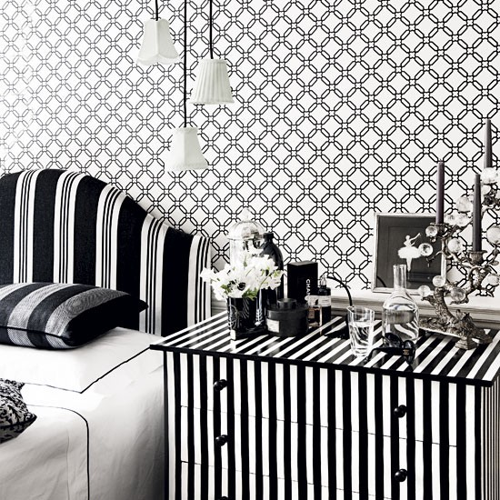 trelliswork wallpaper in monochrome | Decorating with black and white