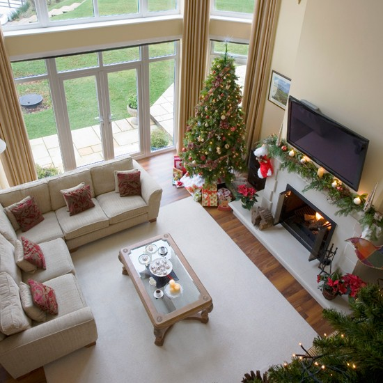 Christmas Living Room View From Mezzanine