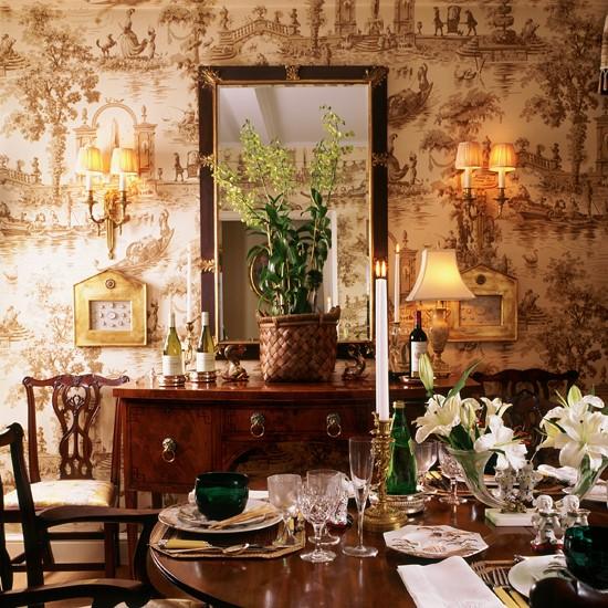 Toile De Jouy Dining Room Wallpaper