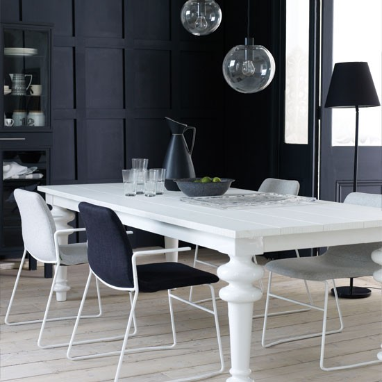 Dining Room Black And White: Modern Black And White Dining Room