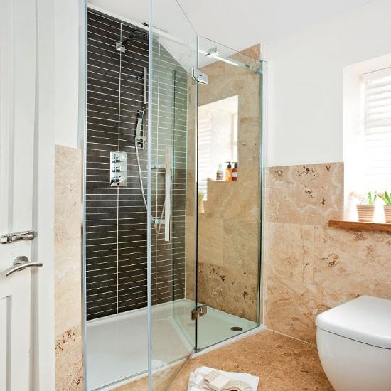 Bathroom Shower Decorating Ideas: Neutral Limestone Shower Room