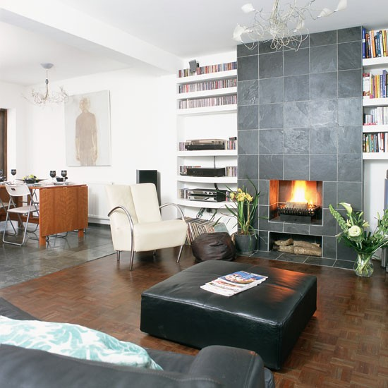 Living Room With Alcove Storage