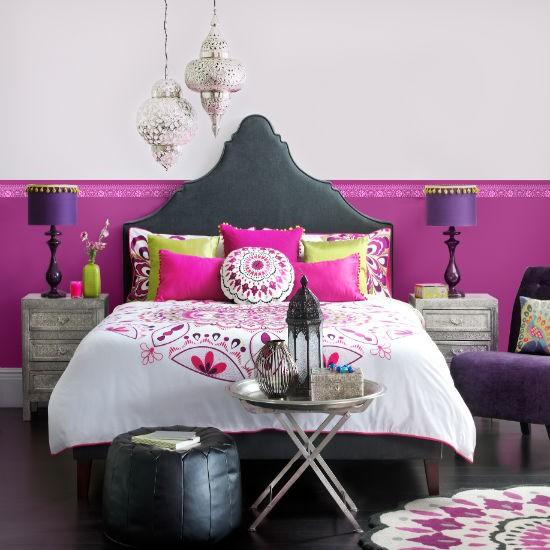 Bedroom Colour Schemes: Moroccan Bright Bedroom