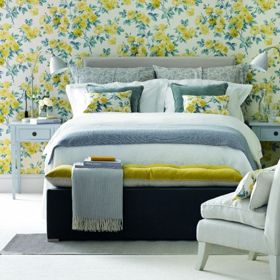 Yellow And Grey Floral Bedroom Bedroom Colour Schemes