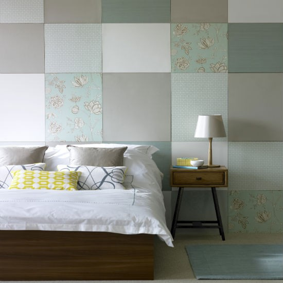 Bedroom Colour Schemes: Duck-egg And Taupe Patchwork Bedroom
