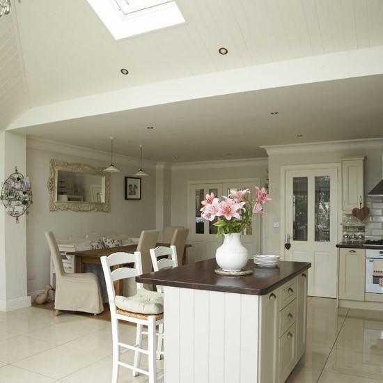 Open Plan Kitchen And Lounge: Open-plan Neutral Kitchen