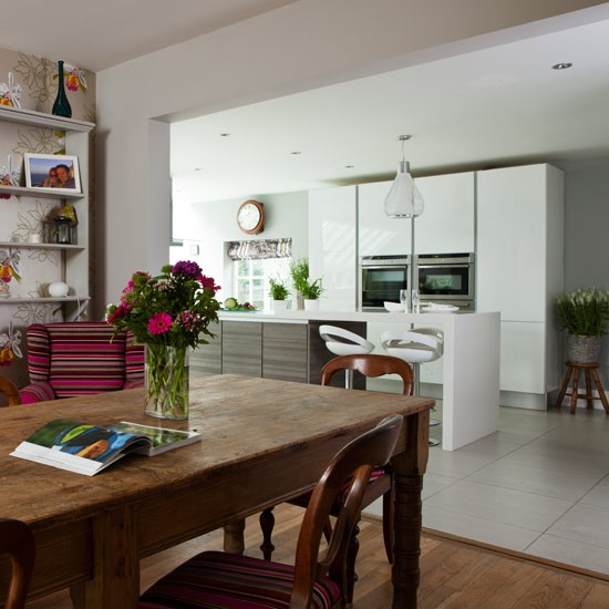 fresh white openplan traditional kitchen  traditional
