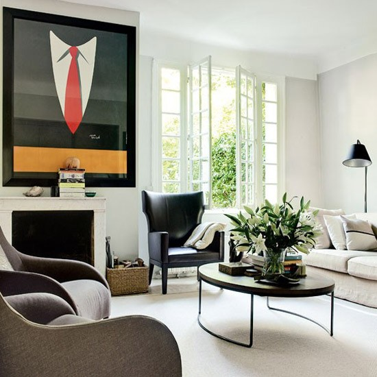 Living Room As Art Gallery: Art Deco-style Living Room With 1930s Print