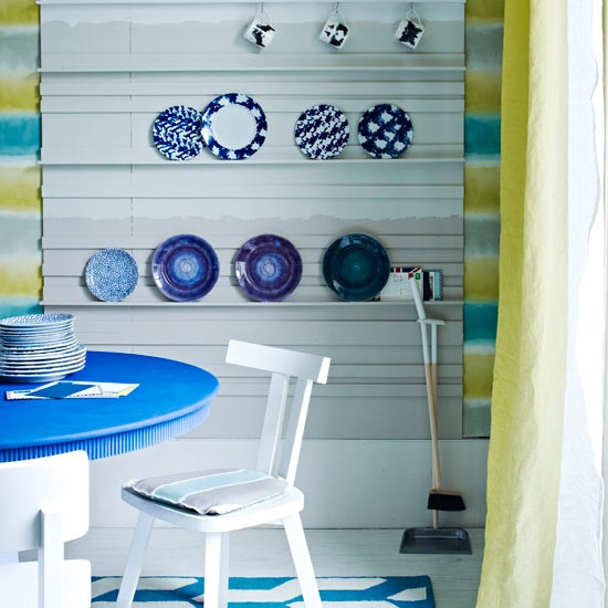 32 Dining Room Storage Ideas: Colourful Kitchen-diner Plate Storage