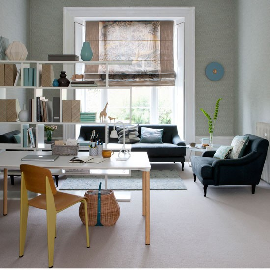 Home Office Room: Functional Living Room Ideas