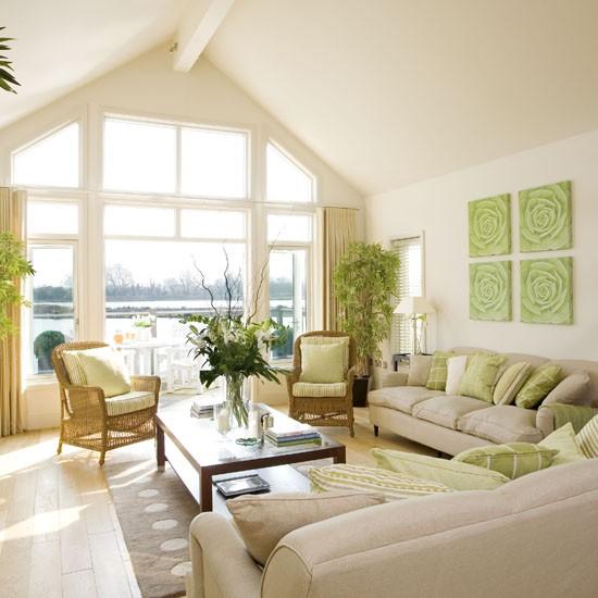 15 Beautiful Living Room Lighting Ideas: Cream And Green Living Room