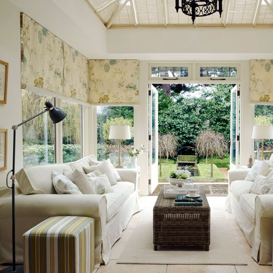 Room Decor Furniture Interior Design Idea Neutral Room: Neutral Conservatory Living Room