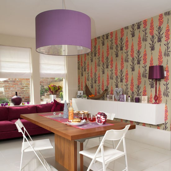 Living room with feature wall wallpaper ideas for living - Purple feature wall living room ideas ...