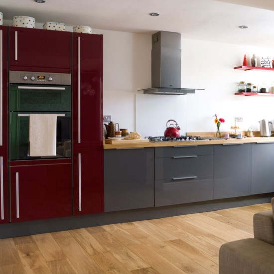 Red And Grey Modern Kitchen