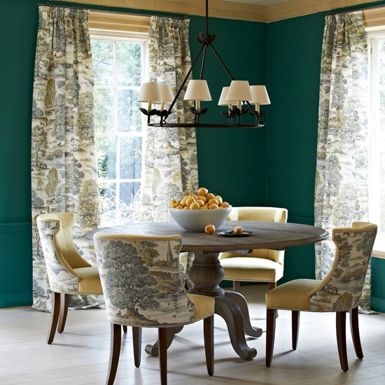 Traditional Toile Dining Room