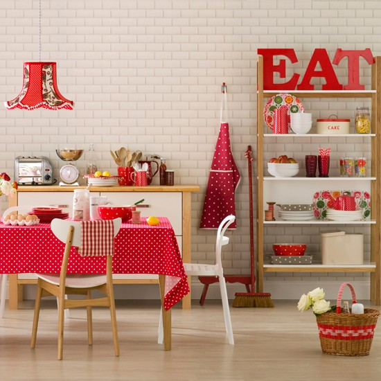 Red Spotted Dining Room Bold Red Colour Schemes Home