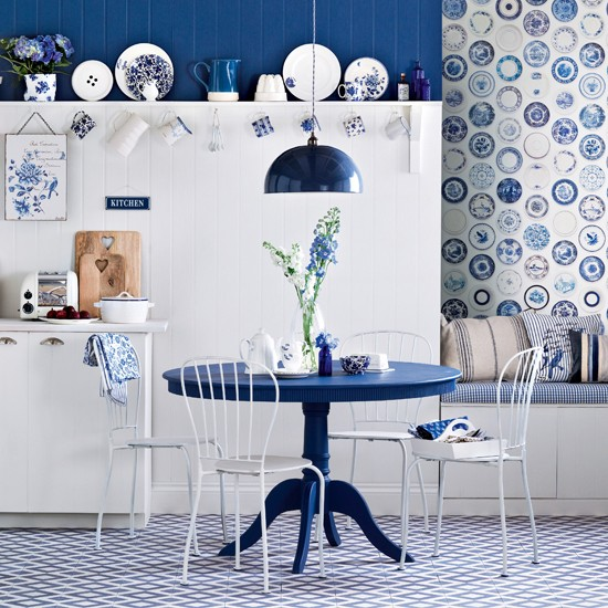 Royal Blue Dining Room Country Decorating Ideas