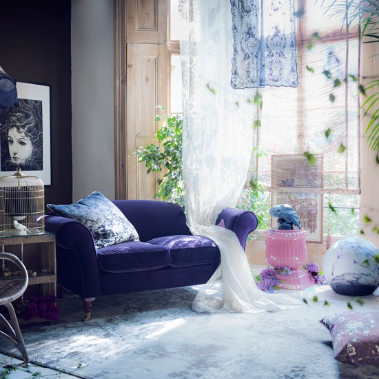 Whimsical Bedroom Decorating Ideas: Mysterious Purple Living Room
