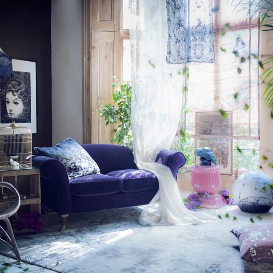 Purple Living Room Ideas: Mysterious Purple Living Room