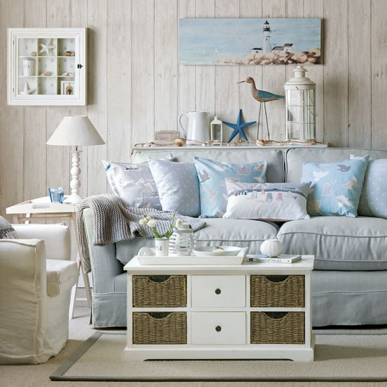 sea inspired living room coastal style decorating ideas. Black Bedroom Furniture Sets. Home Design Ideas