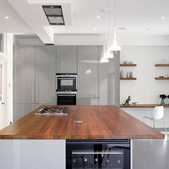 Modern Walnut Kitchen Cabinets: Gloss Kitchen Ideas - 10 Ideas