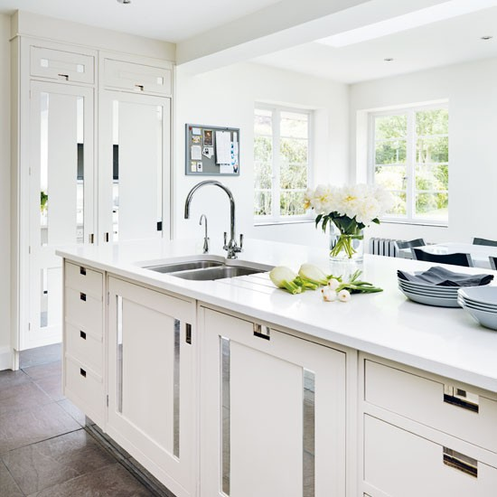 White Kitchen With Mirrored Insets White Kitchens