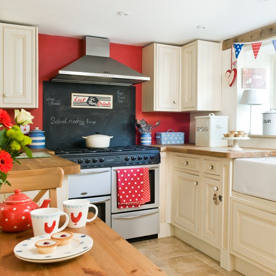 Red cottage kitchen ideas | red white black kitchen