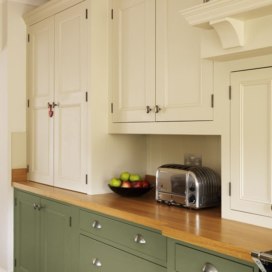 Antique White Kitchen Cabinets With Olive Green Walls
