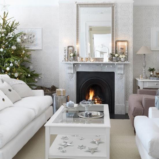 Simple Silver Christmas Living Room