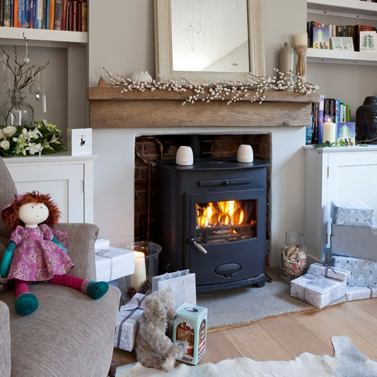 Neutral Living Room With Woodburner Cosy Living Room