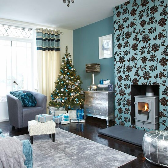 Festive Teal And Silver Living Room Scheme