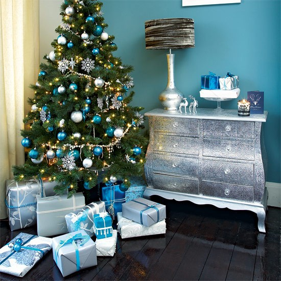 Christmas Tree Decorations Teal And Silver Decorating Ideas