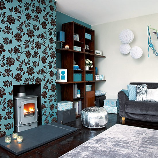 Festive Teal And Silver Living Room