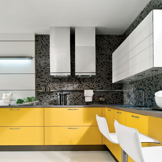 New Modern Kitchens At Neil Lerner: Modern Yellow And Grey L-shaped Kitchen