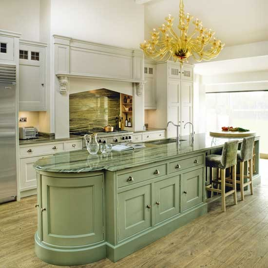 Grand Kitchen With Green Island
