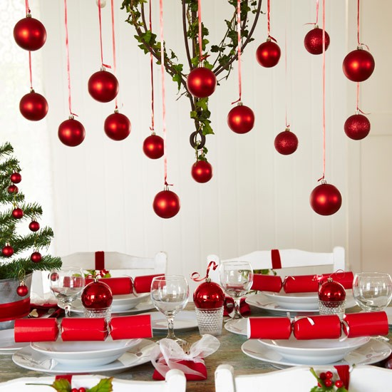 Festive Table Setting With Hanging Red Baubles