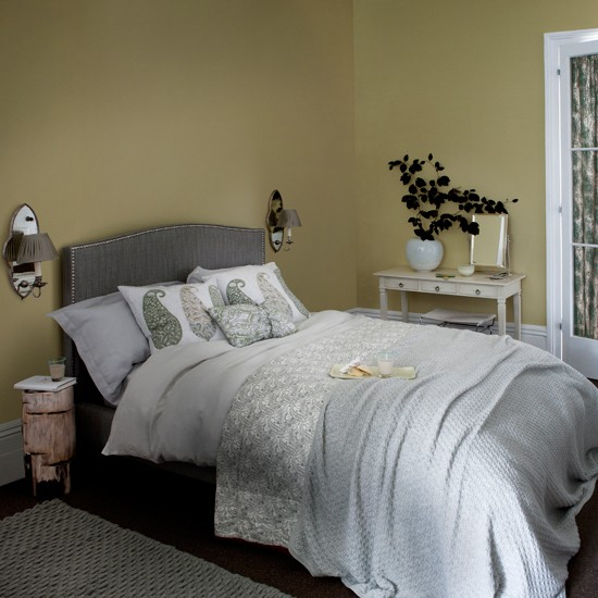 Grey Bedroom Decorating: Soft Grey And Yellow Bedroom