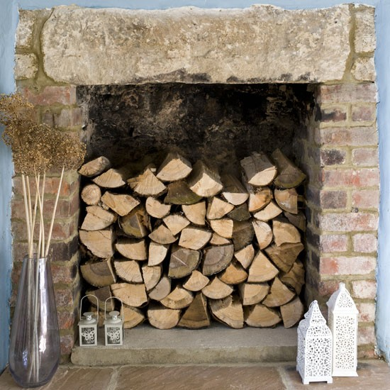 Wooden Log Fireplace Fireplace Decorating Ideas