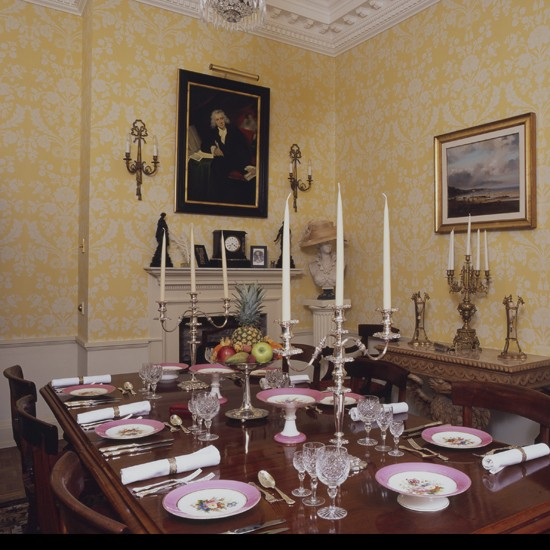 Dining Room Wallpaper Ideas: Yellow And White Wallpaper