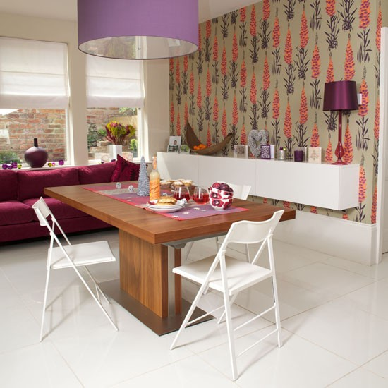 Dining Room Wallpaper Ideas: Contemporary Printed Dining Room Wallpaper