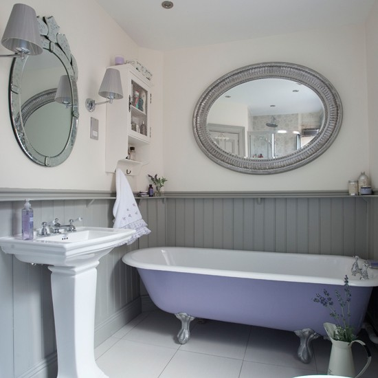 Grey And White Panelled Bathroom: Lilac And Grey Panelled Bathroom